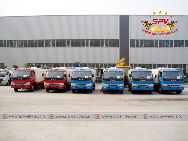 Road Sweepers JAC (right hand drive) parked in orderliness, ready for shipment