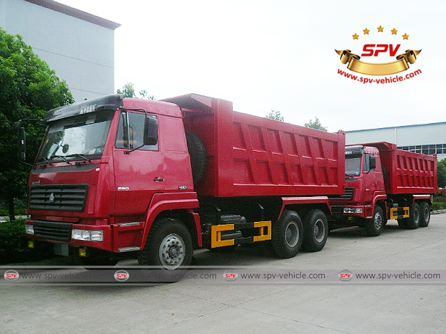 Dump Trucks Sinotruk (6X4) are parked in orderliness, ready for shipment to Nigeria