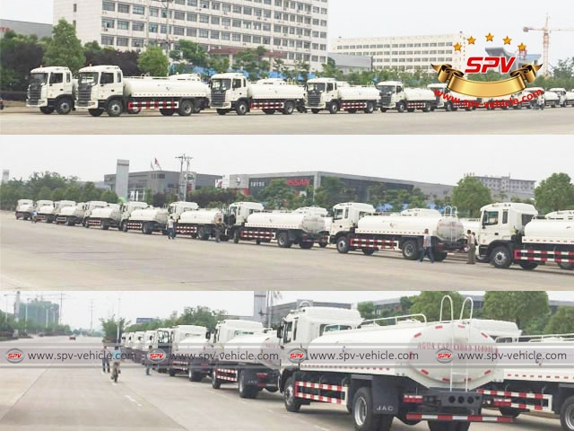 4th lot of 100 units of JAC water bowsers are ex-factory, delivering to the port