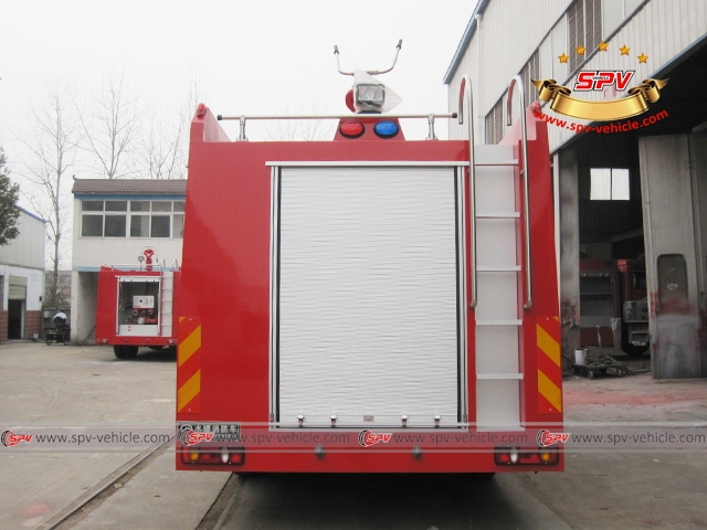 Back view of Foam and Water Fire Truck - Dongfeng