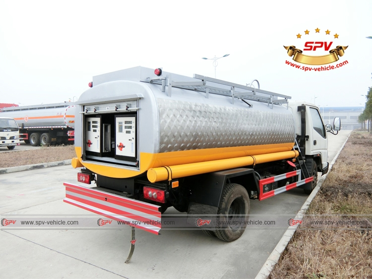 Rear Left Side View of Stainless Steel Fuel Tanker