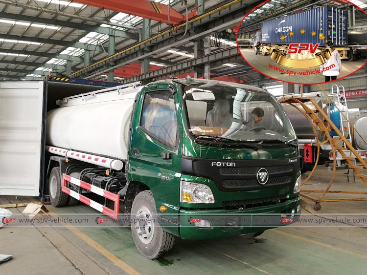 10,000 litres Fuel Tank Truck FOTON - Loading into Container